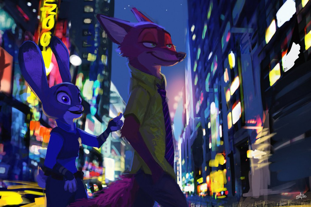 Molto Special Art of the Day #269: Zootopia — Night and the City JM73